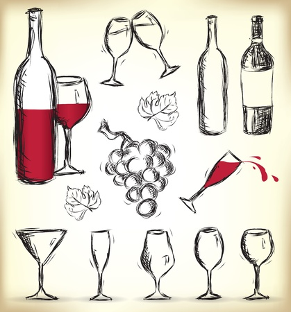 Collection de verres dessinés à la main, des bouteilles de vin et les raisins