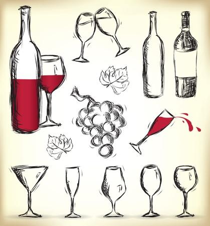 Raccolta di disegnati a mano bicchieri, bottiglie di vino e uva