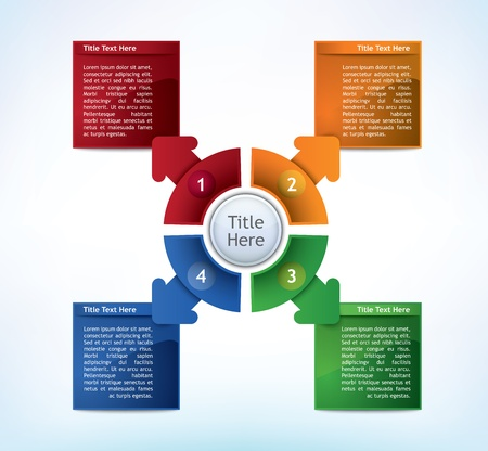 Business Presentation Diagram with four different colored fields for text and statistics Illustration