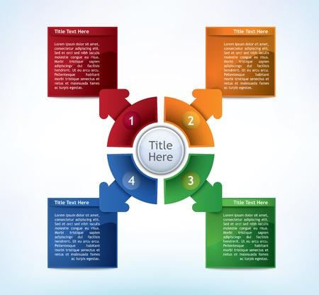 4 wheel: Diagrama de Presentaci�n de Empresas con cuatro campos de diferentes colores para el texto y las estad�sticas Vectores