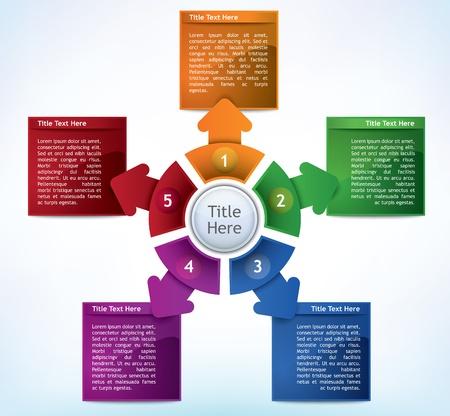 Business Presentatie Diagram met vijf verschillende gekleurde velden voor tekst en statistieken