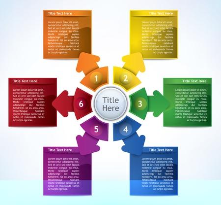 dichiarazione: Affari Schema di presentazione con sei campi di diversi colori per il testo e le statistiche