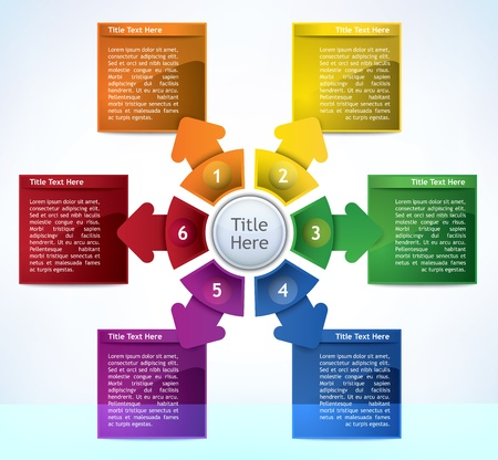 Business Presentation Diagram with six different colored fields for text and statistics Illustration