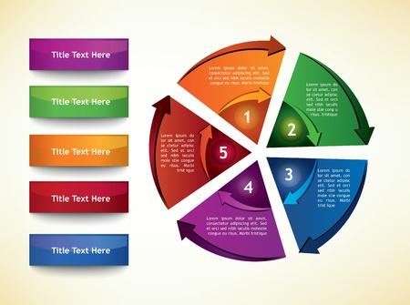 cíclico: Plantilla de diagrama con flechas, segmentos de cinco y los botones de título Vectores