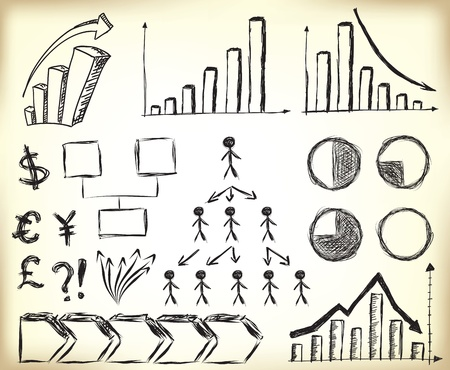 Scribbled Business Charts, diagrams and other elements for designs Illustration