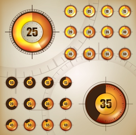 Set of two timer display for web interface Stock Vector - 12120240