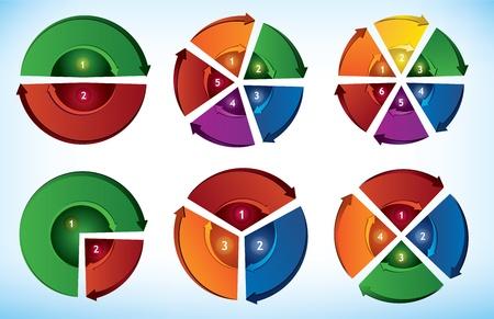 c�clico: Colecci�n de seis elementos de presentaci�n c�clica con flechas direccionales