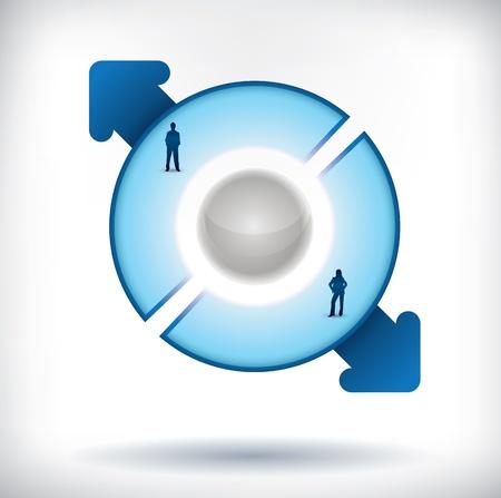 cíclico: Plantilla de presentación segmentado con dos partes, la gente siluetas y las flechas