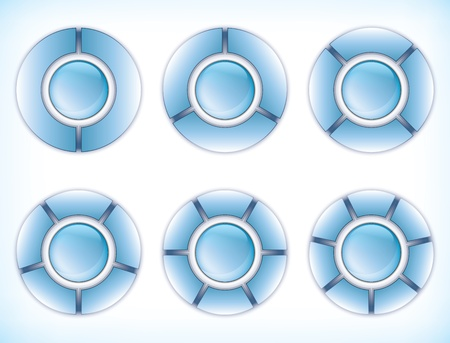 segments: Abstract Presentation Elements - Six Glossy Wheel Charts with equal segments Illustration