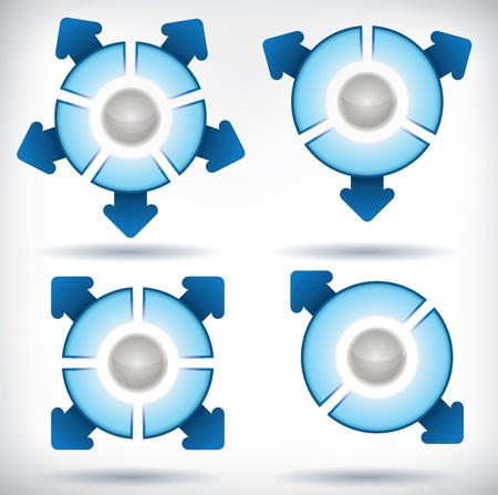 A set of presentation diagrams of circles divided into two, three, four and five segments, each segment having an arrow pointing away from the circle
