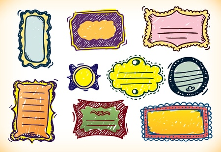 Set of nine different hand sketched frames in different colour combinations and shapes Vector