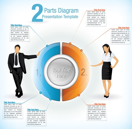 either: Colourful segmented wheel format presentation diagram with the figure of a business man and woman on either side with attached text information boxes Illustration
