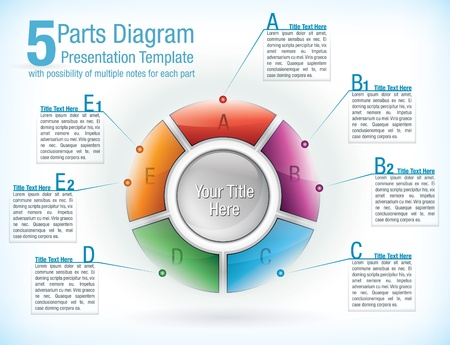 pie diagrams: Multicolour segmented wheel template for presentations with five parts with attached text information boxes Illustration