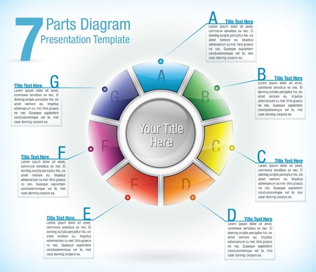 Segmented wheel presentation template with seven differently coloured segments each with an information text box attached Vector