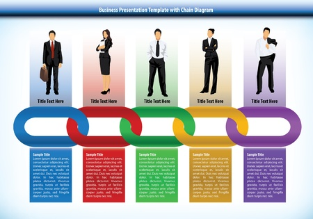 team worker: Business presentation template with interlinked colourful chain with each link representing a different perons or human input with corresponding text boxes below