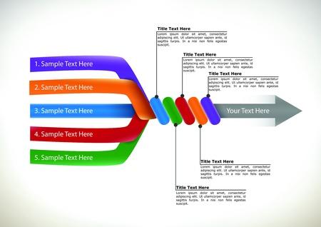 Colorida presentación de diagrama de flujo que muestra cinco brazos diferentes de entrada individuales están simplificando en una sola unidad con una flecha de salida para la racionalización y la eficiencia