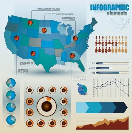 web survey: Conjunto de elementos infogr�ficos para mostrar las estad�sticas y datos demogr�ficos, incluidas las personas, deslizadores, gr�ficos y Cirlces proporcionales junto con un mapa de Am�rica