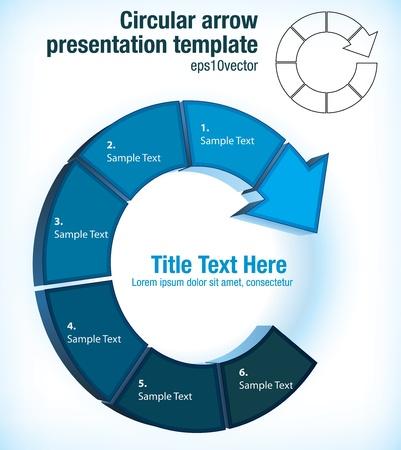 circulaire: Circulaire pictogramme flux fl�che pr�sentation mod�le de graphique avec six partitions individuelles pour le texte Illustration