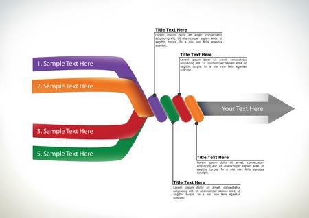 proceso: Presentaci�n diagrama de flujo con cuatro brazos de componentes se unen para formar un solo conceptual de flecha direccional de los elementos, streamling y trabajo en equipo