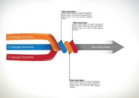 diagrama de flujo: Presentaci�n diagrama de flujo con tres brazos de componentes se unen para formar un solo conceptual de flecha direccional de los elementos, streamling y trabajo en equipo Vectores