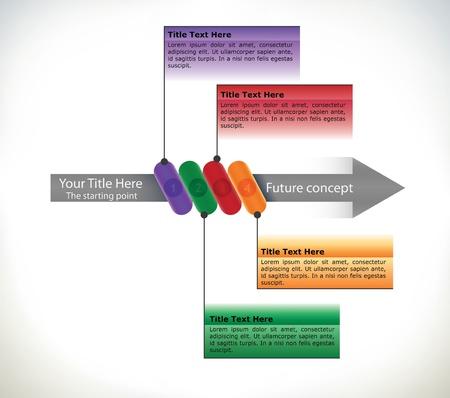 Presentación de plantilla con una dirección y los cuatro pasos con campos para texto Foto de archivo - 15552174