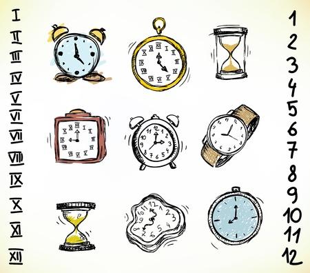 Colección de relojes antiguos y relojes doodled Ilustración de vector