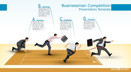 cartoon businessman: Symbolic presentation template of a business competition Illustration