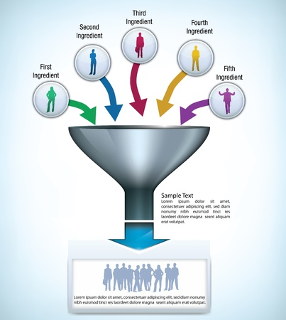 Funnel presentation template with space for different elements, and silhouettes of business people Illustration