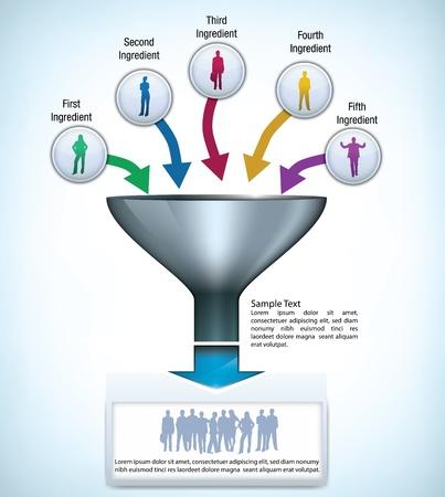 process diagram: Imbuto modello di presentazione con spazio per diversi elementi, e sagome di uomini d'affari Vettoriali