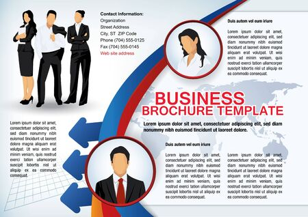 Business brochure template with avatars and abstract elements Vector