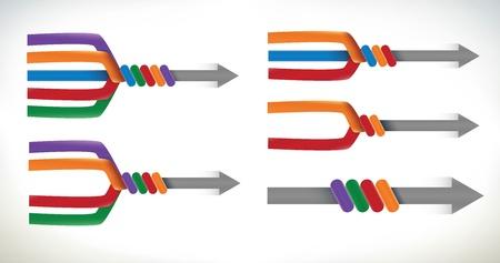 Un insieme di elementi di presentazione utilizzando le frecce e la fusione che unisce in un solo elemento Vettoriali