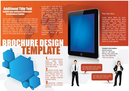 magazine template: Business Brochure Design Template with a 3d tablet and businessman silhouettes