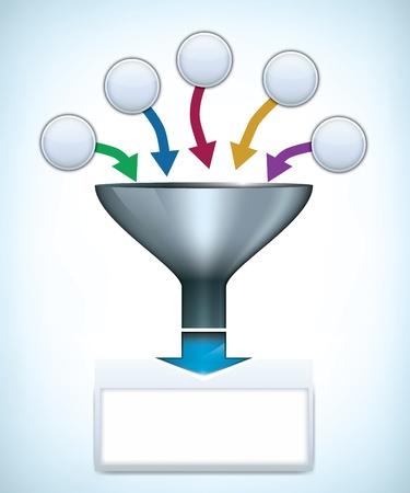 combinar: Embudo plantilla de presentación con espacio para diferentes elementos Vectores