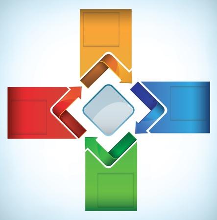 c�clico: Plantilla de presentaci�n colorida con flechas en un movimiento c�clico