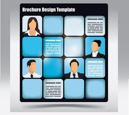 Modèle de brochure Business themed avec des avatars et le lieu pour le texte Banque d'images - 16125087