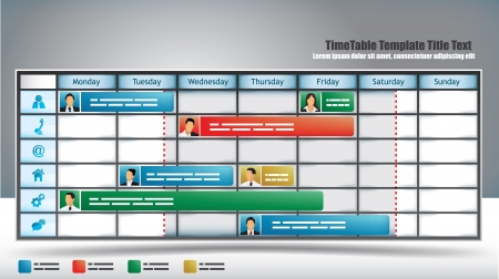 schedule appointment: Business themed planner template with avatars and sliders