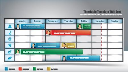cronograma: Plantilla de planificador temática con avatares y deslizadores