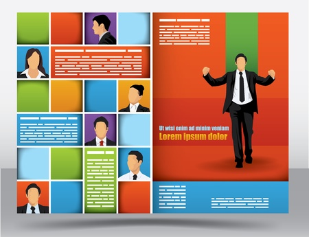 Business themed brochure design template with portraits of businessman and space for different sized text Illustration