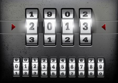combination: Combination lock showing the number of the year 2013