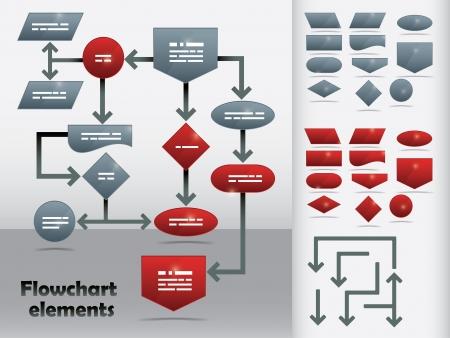 diagrama de flujo: Elementos de diagrama de flujo en dos colores y flechas diferentes para crear gráficos personalizados