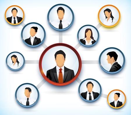 teamleider: Presentatie van een netwerkstructuur met avatars van mensen uit het bedrijfsleven