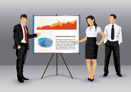 Illustration de gens d'affaires faisant une présentation à l'aide d'un tableau blanc montrant camemberts et graphiques