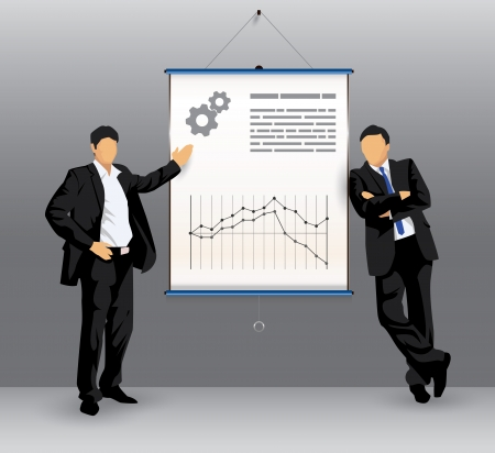 Illustration of silhouettes of business people in front of a presentation board Illustration