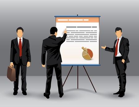 Ilustración del hombre de negocios que hace una presentación en frente de una junta