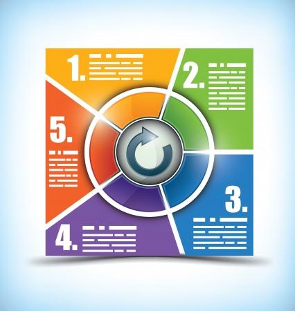 folyik: Öt szakasz munkafolyamat chart, dobozok finoman változik egyik szín a következő, a tér a szöveg és a környező központi ikon gomb vagy cím
