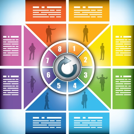 Eight stage workflow chart, with boxes subtly changing from one color to the next, space for your text and surrounding a central icon for button or title Illustration