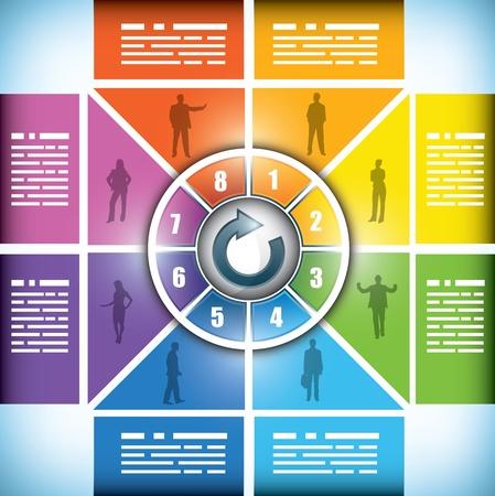 circundante: Oito fase do fluxo de trabalho gráfico, com caixas sutilmente mudando de uma cor para outra, espaço para o seu texto e em torno de um ícone central de botão ou título Ilustra��o