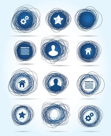 garabatos: Selección de libre-dibujadas iconos de negocios circulares en azul, ambos temas relacionados con Internet y los botones en blanco para insertar su propio texto