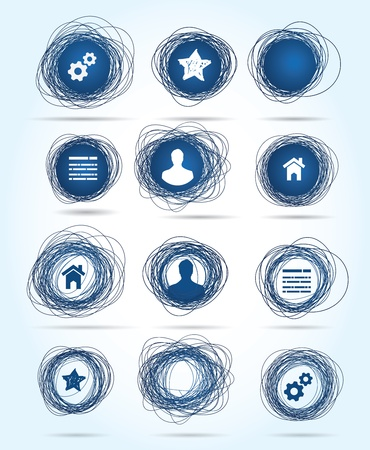 Selection of free-drawn circular business icons in blue, both internet related themes and blank buttons for insertion of your own text Stock Vector - 16262326