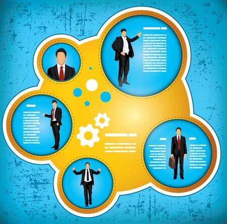 workflow: Bleu et or de workflow graphique grunge effet d�peignant un homme d'affaires dans divers r�les, avec un espace pour l'insertion de votre propre texte